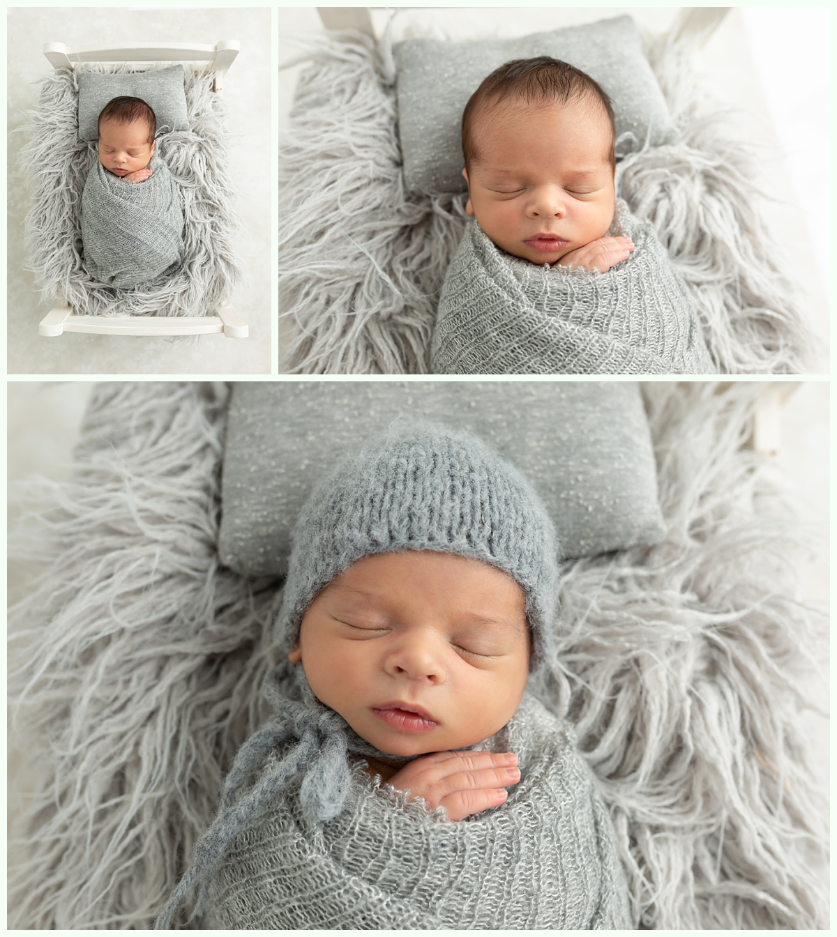 newborn boy in gray bonnet and swaddle